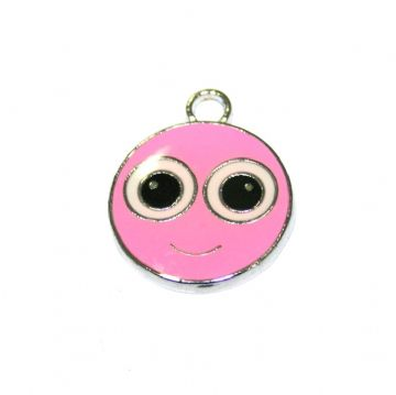 1pce x17*17mm Pink cute smily face enamel charms - S.D03 - CHE1124